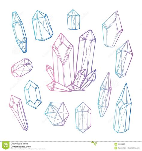 crystallography an outline of the geometrical properties of crystals classic reprint books vector illustration set of geometric crystals