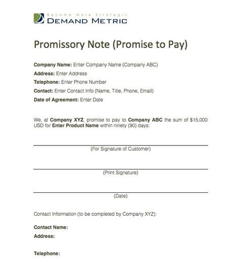 Visa Promise Letter promise to pay agreement template promise to pay agreement