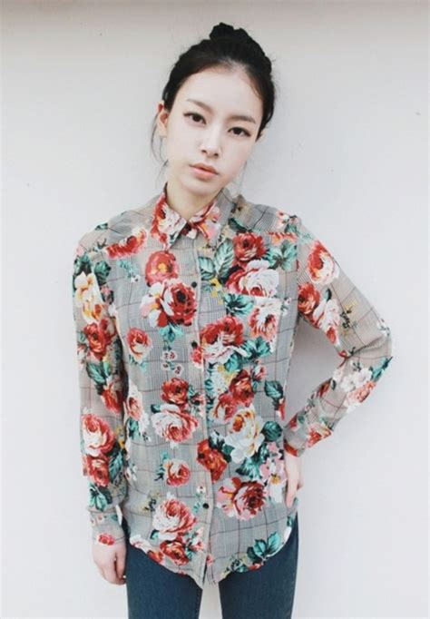 flower pattern button up blouse button up collar pockets long sleeves floral