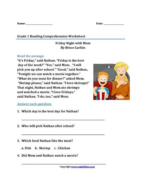 Reading Worksheets For 1st Graders by Worksheet Reading Passages Grade Wosenly Free