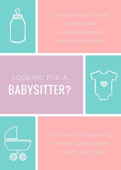 babysitting poster template customize 57 babysitting flyer templates canva