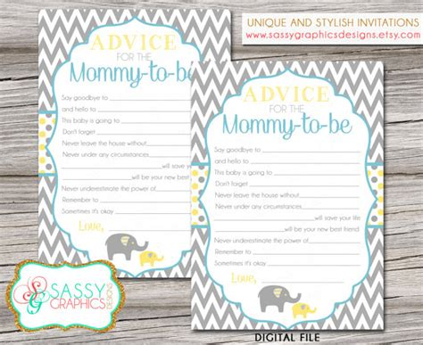 baby boy shower shower advice card 5 25x8 plaid blue elephant boy baby shower card baby shower advice card