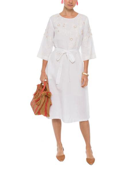 megan park white dress aalia white embroidered linen dress megan park halsbrook