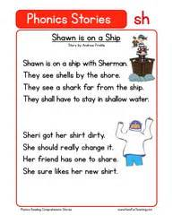 Reading comprehension worksheet phonics words stories sh