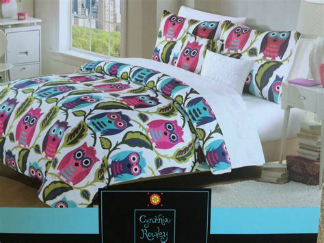 owl queen comforter set cynthia rowley owls f queen comforter set and 50 similar items