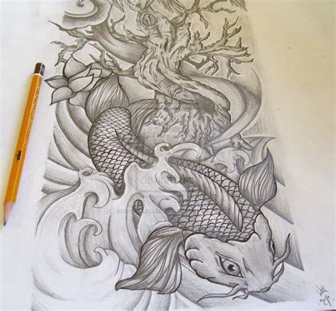 koi fish sleeve tattoos designs koi sleeve commission by josephblacktattoos on deviantart
