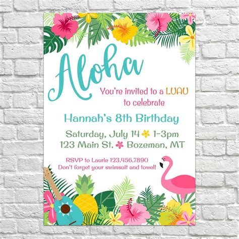 25 best ideas about luau birthday invitations on