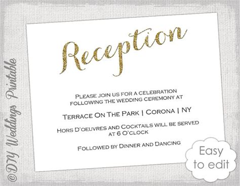 reception cards template wedding reception invitation template diy gold