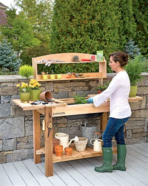 gardeners bench potting bench cedar potting table with soil sink and shelves