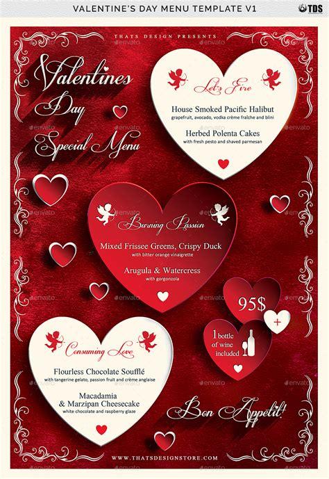Valentines Day Menu Template V1 By Lou606 Graphicriver S Day Menu Template
