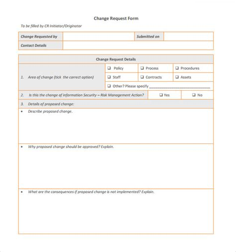 change request form template 8 change request sles sle templates