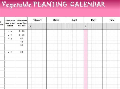vegetable planting calendar  excel templates