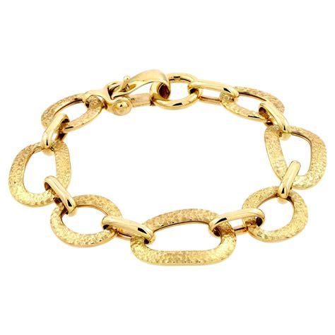 14k yellow gold italian hammered bracelet 7 5