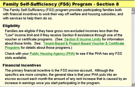 section 8 family self sufficiency program tutorial exle 2 section 8