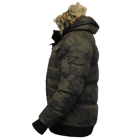 Camouflage Hooded Padded Coat mens parka jacket brave soul coat camo