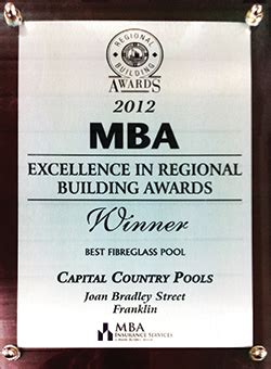 Mba Awards Canberra 2016 by 2012 Mba Winner Best Fibreglass Pool Canberra Pools And