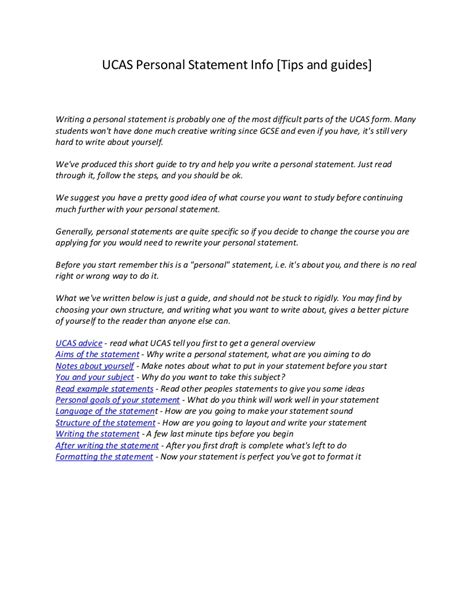 ucas personal statement info