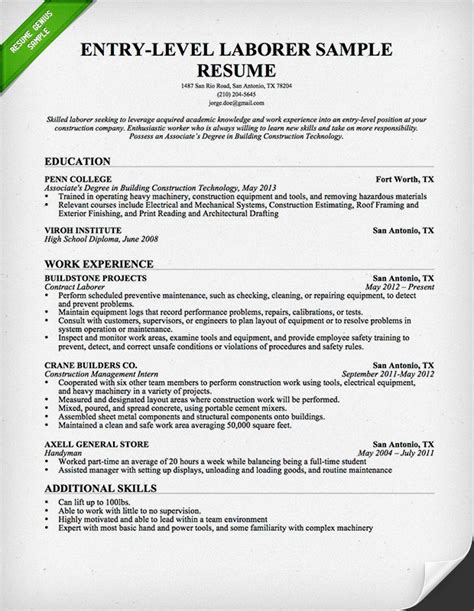 resume template for laborer entry level construction resume sle resume genius