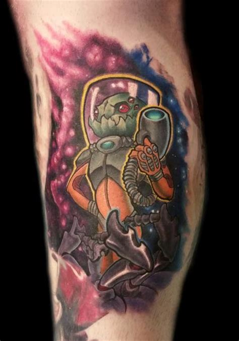 Tattoo New School Space | new school space alien by shane baker tattoos