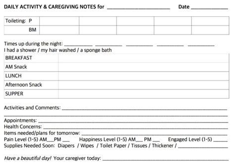 Daily Notes For Caregivers With Free Printable Forms Creating Daily Joys Caregiver Daily Checklist Template