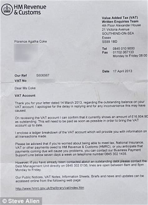 Customer Owes Money Letter You Owe Us Almost 163 1billion Bungling Taxman Tells Cafe