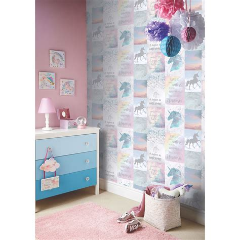 glitter wallpaper newcastle arthouse believe in unicorns glitter metallic wallpaper