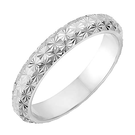 white gold pattern ring 9ct white gold 3 5mm domed diamond cut wedding ring h samuel