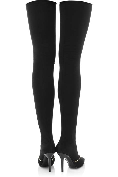 givenchy pointed stretch jersey thigh boots in black lyst