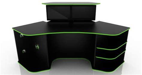 Green Computer Desk Corner Computer Desk For Gaming Black Color With Green Gaming Setups