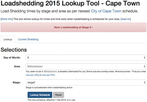 loadshedding 2015 lookup tool cape town load shedding
