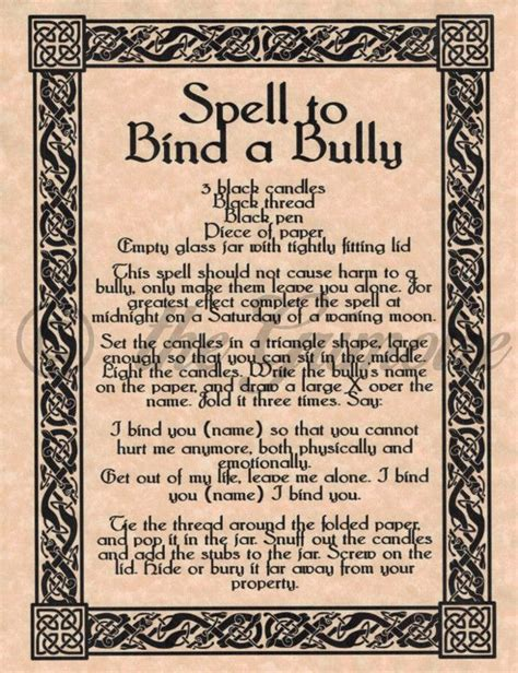 spell to bind a bully stop your enemy in his tracks book