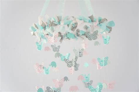Aqua Pink Gray Nursery Decor Elephants Butterflies Aqua Nursery Decor