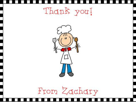 thank you letter to culinary chefbakercooking boy thank you note cards