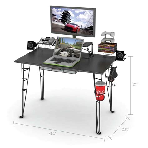 Atlantic 33935701 Gaming Desk with Atlantic Gaming Center Desk Black 33935701