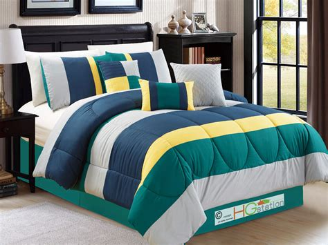 Set Prinsa Navy 1 7 pc modern striped comforter set teal green navy blue yellow silver gray ebay