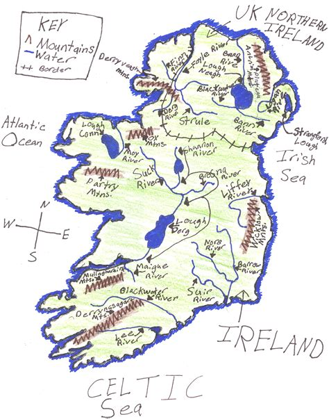 ireland physical map ljhsldawson licensed for non commercial use only