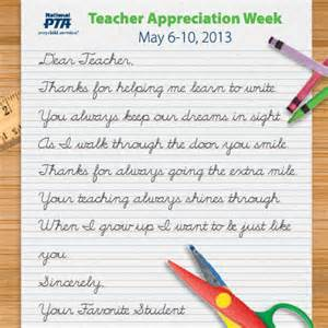 Thank You Letter For Appreciation Week Pta Appreciation Week 2018 May 2018