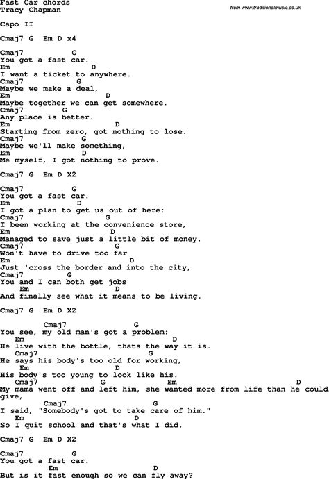 song to song lyrics with guitar chords for fast car