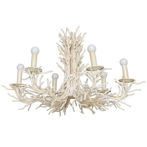 large 7 light faux coral chandelier at 1stdibs