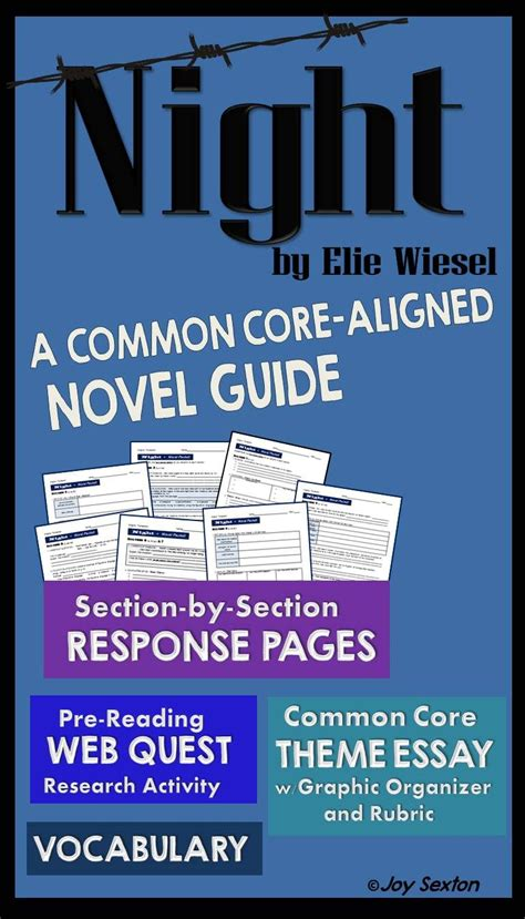 theme essay on night by elie wiesel night by elie wiesel novel guide with common core theme