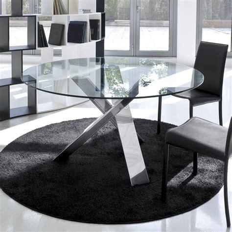tavolo tondo design tavolo tondo di design d 160 piano in cristallo made in