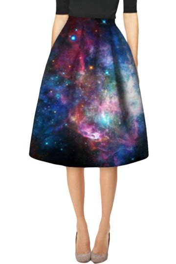 womens stylish galaxy 3d printed high waist midi skirt