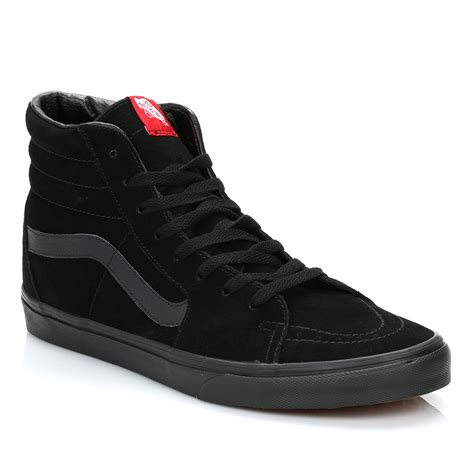 vans high tops black sk8 hi suede trainers laceup