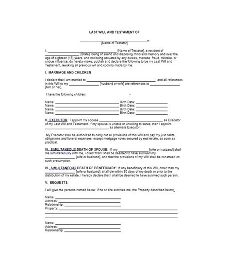 testament template free printable last will and testament forms