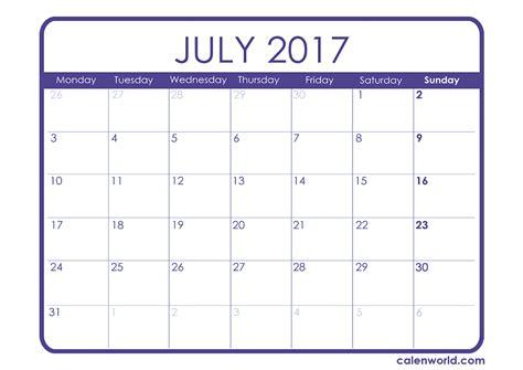Calendar 2017 July Month July 2017 Calendar Printable Calendars