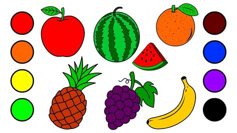 fruit drawings drawing fruits by water colors for learning colors and