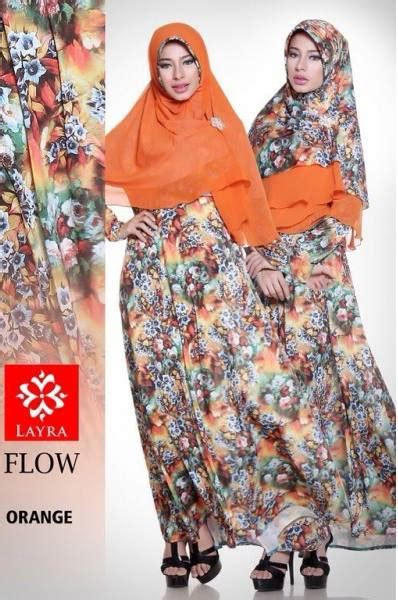 Gamis Flower Syari Tosca flow flower vol 2 orange baju muslim gamis modern