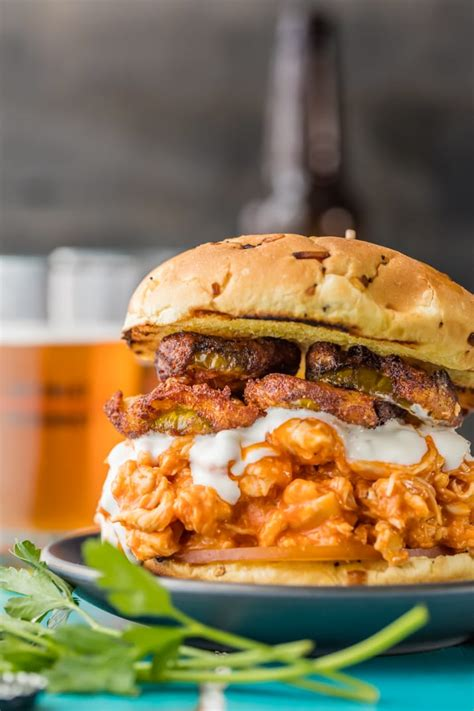 slow cooker buffalo chicken sandwiches with ranch fried