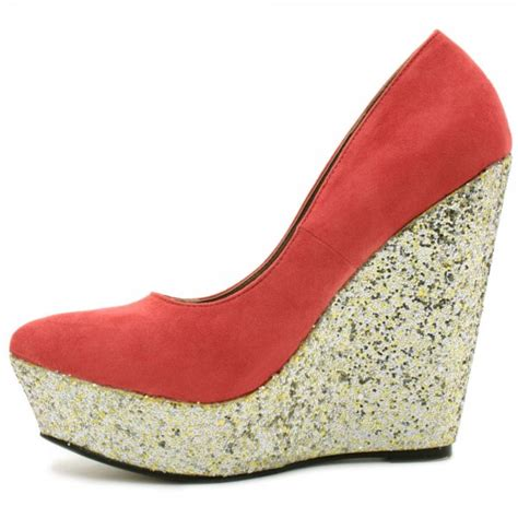 womens coral court shoes glitter heel wedge platform shoes
