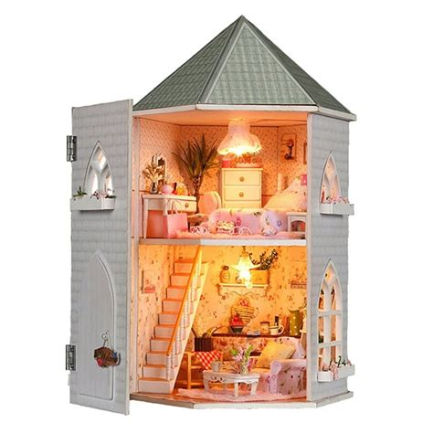doll house with lights kits love castle diy wood dollhouse miniature with light and furniture toy gift alex nld